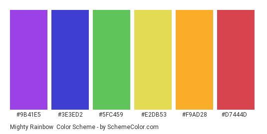Mighty Rainbow - Color scheme palette thumbnail - #9b41e5 #3e3ed2 #5fc459 #e2db53 #f9ad28 #d7444d