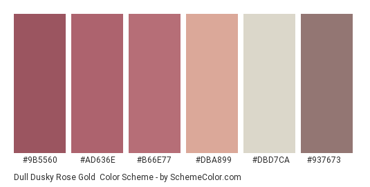 Dull Dusky Rose Gold - Color scheme palette thumbnail - #9b5560 #ad636e #b66e77 #dba899 #dbd7ca #937673
