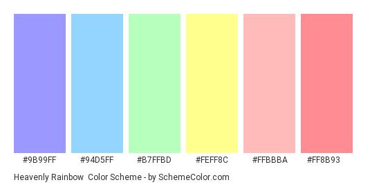Heavenly Rainbow - Color scheme palette thumbnail - #9b99ff #94d5ff #b7ffbd #feff8c #ffbbba #ff8b93
