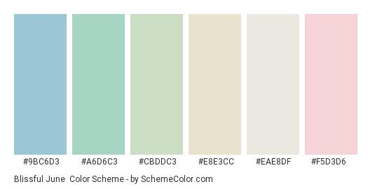 Blissful June - Color scheme palette thumbnail - #9bc6d3 #a6d6c3 #cbddc3 #e8e3cc #eae8df #f5d3d6