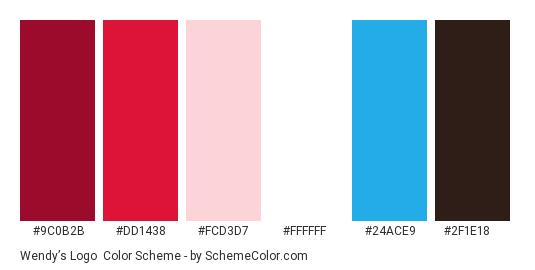 Wendy's Logo - Color scheme palette thumbnail - #9c0b2b #dd1438 #fcd3d7 #ffffff #24ace9 #2f1e18