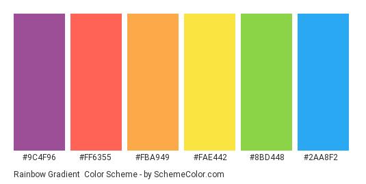 Rainbow Gradient - Color scheme palette thumbnail - #9c4f96 #ff6355 #fba949 #fae442 #8bd448 #2aa8f2
