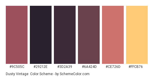 Dusty Vintage - Color scheme palette thumbnail - #9c505c #29212e #3d2a39 #6a424d #ce726d #ffcb76