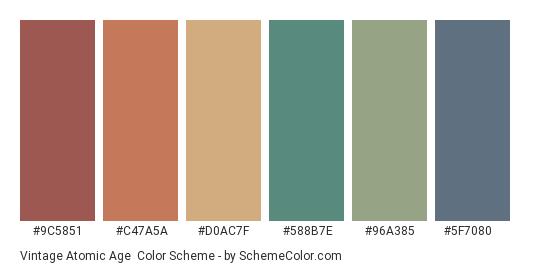 Vintage Atomic Age - Color scheme palette thumbnail - #9c5851 #c47a5a #d0ac7f #588b7e #96a385 #5f7080