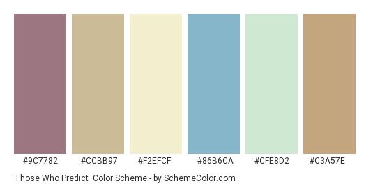 Those Who Predict - Color scheme palette thumbnail - #9c7782 #ccbb97 #f2efcf #86b6ca #cfe8d2 #c3a57e