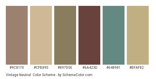 Vintage Neutral - Color scheme palette thumbnail - #9c8170 #cfb895 #897d5e #6a423d #648981 #bfaf82