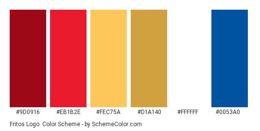 Fritos Logo - Color scheme palette thumbnail - #9d0916 #eb1b2e #fec75a #d1a140 #ffffff #0053a0