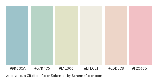 Anonymous Citation - Color scheme palette thumbnail - #9dc3ca #b7d4c6 #e1e3c6 #efece1 #edd5c8 #f2c0c5