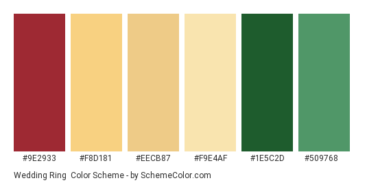 Wedding Ring - Color scheme palette thumbnail - #9e2933 #f8d181 #eecb87 #f9e4af #1e5c2d #509768