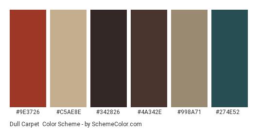Dull Carpet - Color scheme palette thumbnail - #9e3726 #c5ae8e #342826 #4a342e #998a71 #274e52