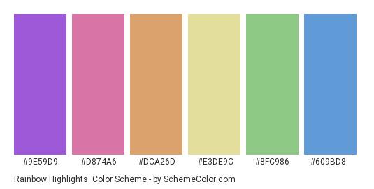 Rainbow Highlights - Color scheme palette thumbnail - #9e59d9 #d874a6 #dca26d #e3de9c #8fc986 #609bd8