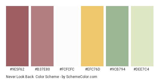 Never Look Back - Color scheme palette thumbnail - #9e5f62 #b37e80 #fcfcfc #efc76d #9cb794 #dee7c4