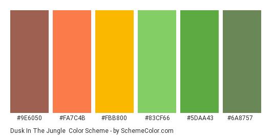 Dusk In The Jungle - Color scheme palette thumbnail - #9e6050 #fa7c4b #fbb800 #83cf66 #5daa43 #6a8757