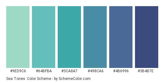 Sea Tones - Color scheme palette thumbnail - #9ed9c6 #64bfba #3ca8a7 #498ca6 #4b6996 #3b4b7e
