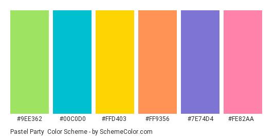 Pastel Party - Color scheme palette thumbnail - #9ee362 #00c0d0 #ffd403 #ff9356 #7e74d4 #fe82aa
