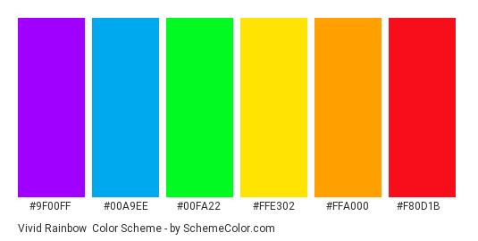 Vivid Rainbow - Color scheme palette thumbnail - #9f00ff #00a9ee #00fa22 #ffe302 #ffa000 #f80d1b