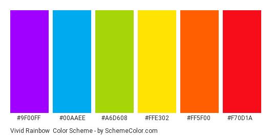 Vivid Rainbow - Color scheme palette thumbnail - #9f00ff #00aaee #a6d608 #ffe302 #ff5f00 #f70d1a