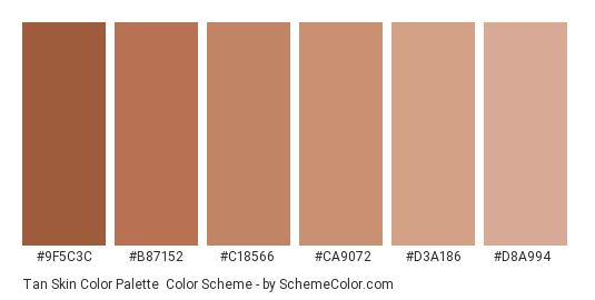 Tan Skin Color Palette - Color scheme palette thumbnail - #9f5c3c #b87152 #c18566 #ca9072 #d3a186 #d8a994