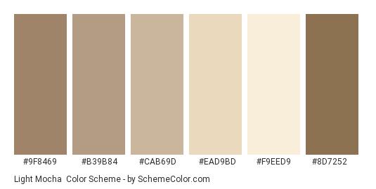 Light Mocha - Color scheme palette thumbnail - #9f8469 #b39b84 #cab69d #ead9bd #f9eed9 #8d7252