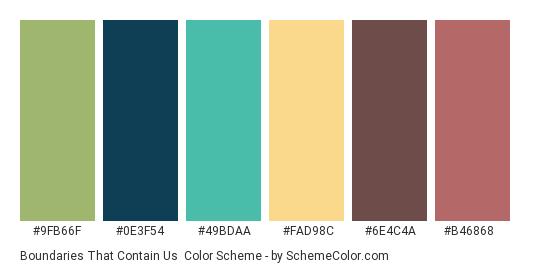 Boundaries that Contain Us - Color scheme palette thumbnail - #9fb66f #0e3f54 #49bdaa #fad98c #6e4c4a #b46868