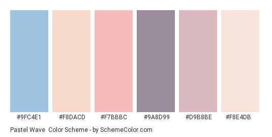 Pastel Wave - Color scheme palette thumbnail - #9fc4e1 #f8dacd #f7bbbc #9a8d99 #d9b8be #f8e4db