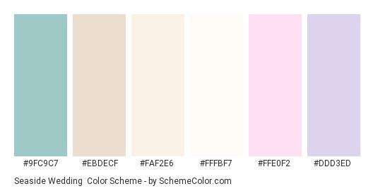 Seaside Wedding - Color scheme palette thumbnail - #9fc9c7 #ebdecf #faf2e6 #fffbf7 #ffe0f2 #ddd3ed
