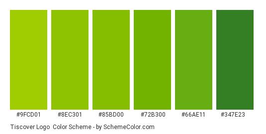 Tiscover Logo - Color scheme palette thumbnail - #9fcd01 #8ec301 #85bd00 #72b300 #66ae11 #347e23