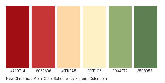 New Christmas Morn - Color scheme palette thumbnail - #A10E14 #C63636 #FFD9A5 #FFF1C6 #93AF72 #5D8053