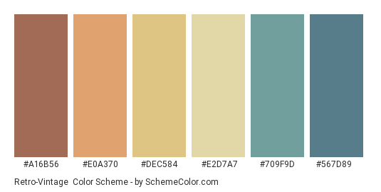 Retro-Vintage - Color scheme palette thumbnail - #A16B56 #E0A370 #DEC584 #E2D7A7 #709F9D #567D89