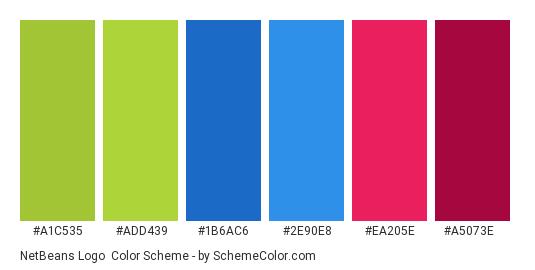 NetBeans Logo - Color scheme palette thumbnail - #A1C535 #ADD439 #1B6AC6 #2E90E8 #EA205E #A5073E