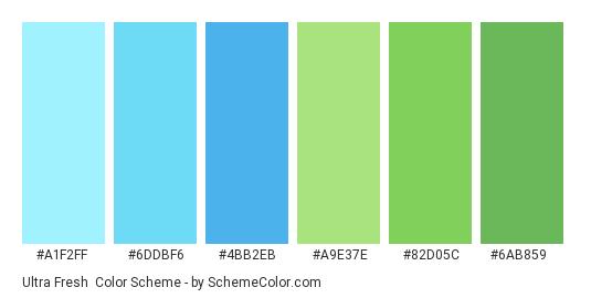 Ultra Fresh - Color scheme palette thumbnail - #A1F2FF #6DDBF6 #4BB2EB #A9E37E #82D05C #6AB859