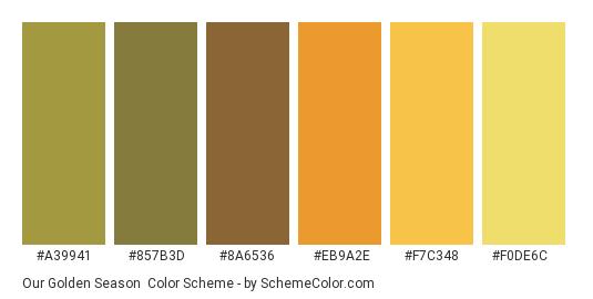 Our Golden Season - Color scheme palette thumbnail - #A39941 #857B3D #8A6536 #EB9A2E #F7C348 #F0DE6C