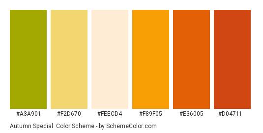 Autumn Special - Color scheme palette thumbnail - #A3A901 #F2D670 #FEECD4 #F89F05 #E36005 #D04711