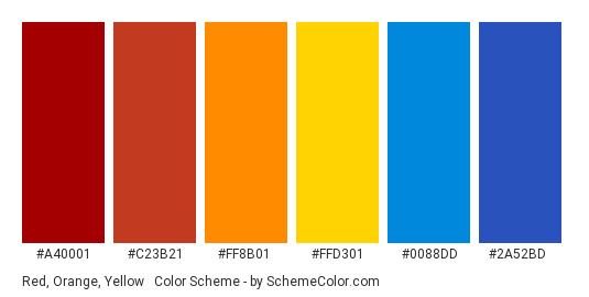 Red, Orange, Yellow & Blue - Color scheme palette thumbnail - #A40001 #C23B21 #FF8B01 #FFD301 #0088DD #2A52BD