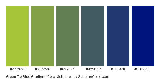 Green to Blue Gradient - Color scheme palette thumbnail - #A4C638 #83A246 #627F54 #425B62 #213870 #00147E