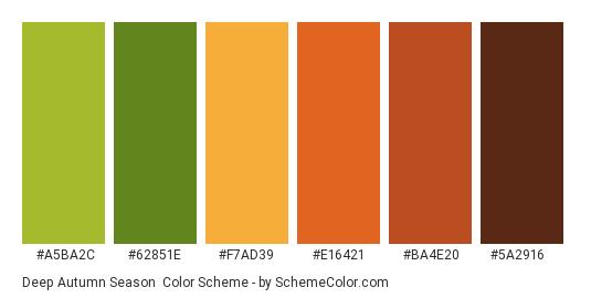 Deep Autumn Season - Color scheme palette thumbnail - #A5BA2C #62851E #F7AD39 #E16421 #BA4E20 #5A2916