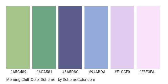 Morning Chill - Color scheme palette thumbnail - #A5C489 #6CA581 #5A5D8C #94ABDA #E1CCF0 #F8E3FA