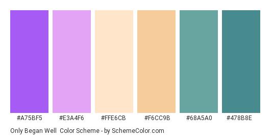 Only Began Well - Color scheme palette thumbnail - #A75BF5 #E3A4F6 #FFE6CB #F6CC9B #68A5A0 #478B8E