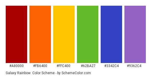 Galaxy Rainbow - Color scheme palette thumbnail - #A80000 #FB6400 #FFC400 #62BA27 #3342C4 #9362C4