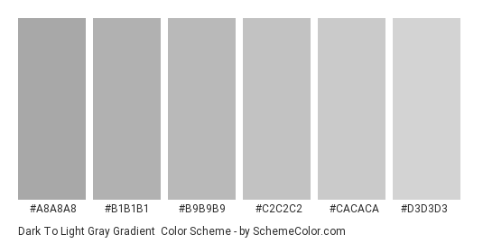 Dark to Light Gray Gradient - Color scheme palette thumbnail - #A8A8A8 #B1B1B1 #B9B9B9 #C2C2C2 #CACACA #D3D3D3