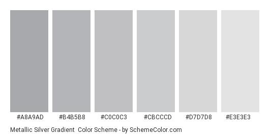 Metallic Silver Gradient - Color scheme palette thumbnail - #A8A9AD #B4B5B8 #C0C0C3 #CBCCCD #D7D7D8 #E3E3E3