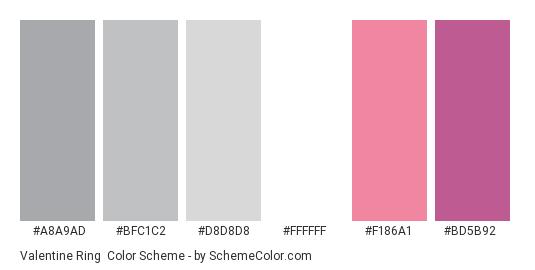 Valentine Ring - Color scheme palette thumbnail - #A8A9AD #BFC1C2 #D8D8D8 #FFFFFF #F186A1 #BD5B92