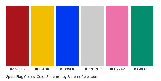 Spain Flag Colors - Color scheme palette thumbnail - #AA151B #F1BF00 #0039f0 #cccccc #ed72aa #058e6e