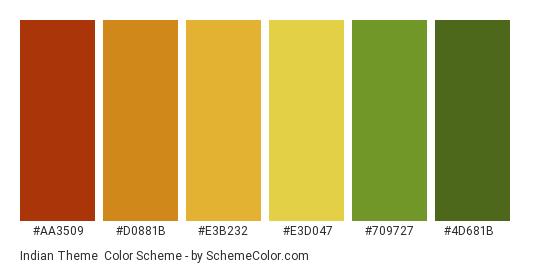 Indian Theme - Color scheme palette thumbnail - #AA3509 #D0881B #E3B232 #E3D047 #709727 #4D681B
