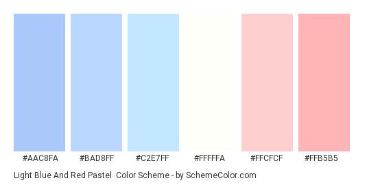 Light Blue and Red Pastel - Color scheme palette thumbnail - #AAC8FA #BAD8FF #C2E7FF #FFFFFA #FFCFCF #FFB5B5