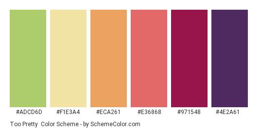 Too Pretty - Color scheme palette thumbnail - #ADCD6D #F1E3A4 #ECA261 #E36868 #971548 #4E2A61