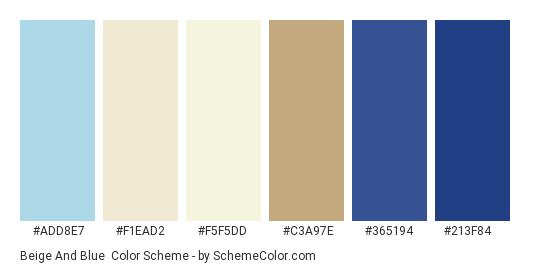 Beige and Blue - Color scheme palette thumbnail - #ADD8E7 #F1EAD2 #F5F5DD #c3a97e #365194 #213f84