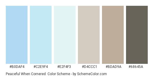 Peaceful When Cornered - Color scheme palette thumbnail - #B0DAF4 #C2E9F4 #E2F4F3 #D4CCC1 #BDAD9A #68645A