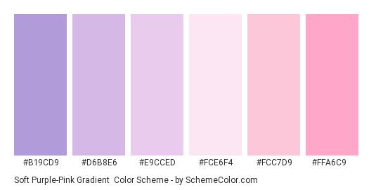 Soft Purple-Pink Gradient - Color scheme palette thumbnail - #B19CD9 #D6B8E6 #E9CCED #FCE6F4 #FCC7D9 #FFA6C9