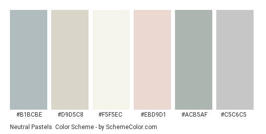 Neutral Pastels - Color scheme palette thumbnail - #B1BCBE #D9D5C8 #F5F5EC #EBD9D1 #acb5af #c5c6c5